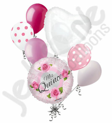 7 Pc Mis Quince Pink Roses Happy Birthday Balloon Bouquet Party Decoration 15th