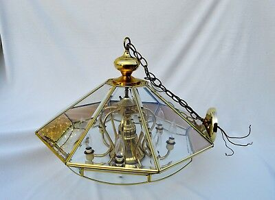 """Vintage Beveled clear Glass Brass Ceiling Lamp Pendant Chandelier 26""""W x 17""""H"""
