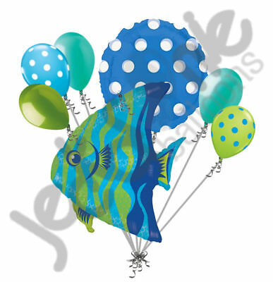 7 pc Angel Fish Balloon Bouquet Party Decoration Ocean Sea Baby Shower Birthday