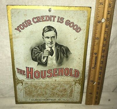 Antique The Household Tin Litho Match Striker Kitchen Sign Manchester Ny Bank