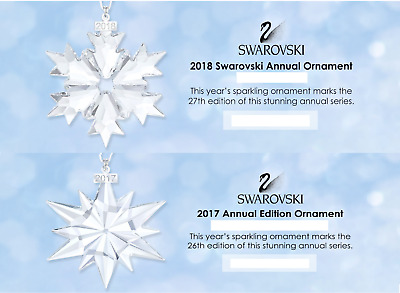 New 2018 and 2017 Large Swarovski Annual Holiday Christmas Ornament Free Ship