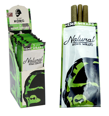 KONG Natural Wrap - 3 PACKS - Unflavored Connoisseur Smooth - 3 Wraps Per Pack