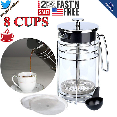French Press Coffee Maker Tea Pot Plunger Glass Stainless Steel Large 8 Cups