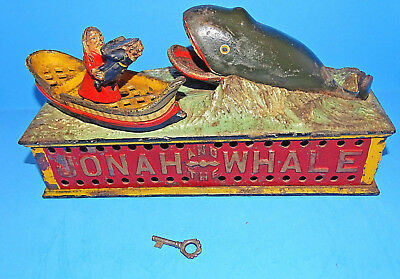 1890 Antique Shepard Cast Iron Jonah and the Whale Mechanical Bank
