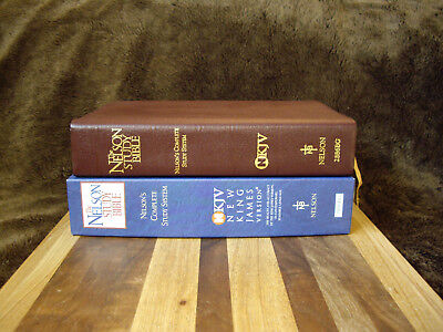 1997 Burgundy Genuine Leather NKJV Study Bible Tag: Commentary Nelson