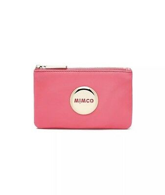 Bnwt Mimco Mim Small Leather Pouch Purse Fuchsia Pink Rrp$79.95 ^
