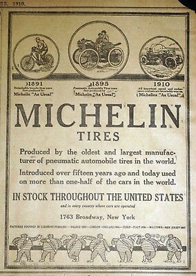 Rare Michelin Man Tires Ad - 1910 Baltimore Newspaper Page