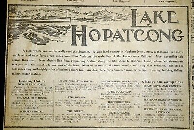 Rare New Jersey Lake Hopatcong Resort Ad - 1910 Baltimore Newspaper Page