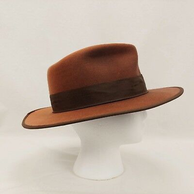 Indiana Jones 100% Wool Felt Fedora Hat Size Large L Brown Authentic Men s a0a8b34443e8