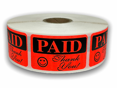 "PAID - Thank You 1-1/4""x2"" Labels Retail Grocery Deli Price Sale (1000/Roll)"