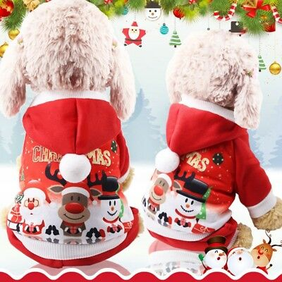 HOT Pet Dog Christmas Sweater Clothes Warm Hoodie Apparel Puppy Cat Xmas Costume
