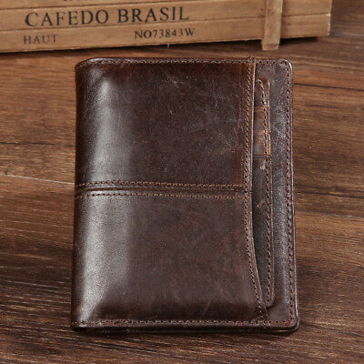 Vintage Men's Real Genuine Leather Cowhide Wallet Bifold Coin Purse Card Holder