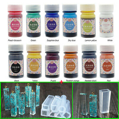 12 Bottles 12 Color Epoxy UV Resin Dye Colorant Resin Pigment + 7pcs Mold Set