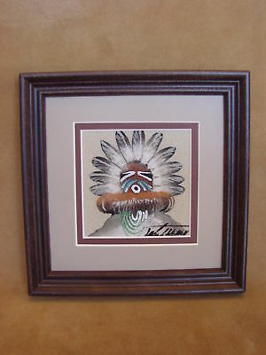 Native American Indian Authentic Navajo Sandpainting by Michael Watchman SP011