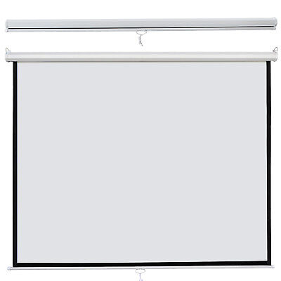 """119"""" Manual Pull Down Projector Projection Screen Home HD Movie 84""""x84"""""""