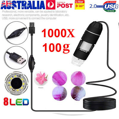 1000X 8 LED Zoom Digital USB Handheld Microscope PC Endoscope Camera Test BY