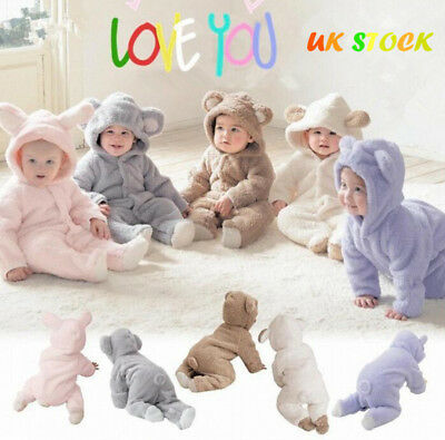 Baby Newborn Infant Boy Girl Romper Hooded Jumpsuit Bodysuit Outfits Clothes UK
