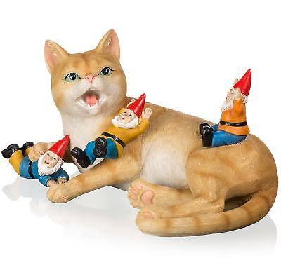 Joykick Cat with Gnomes Statue - 10 x 6.7 Inches Funny Garden Miniature Figurine