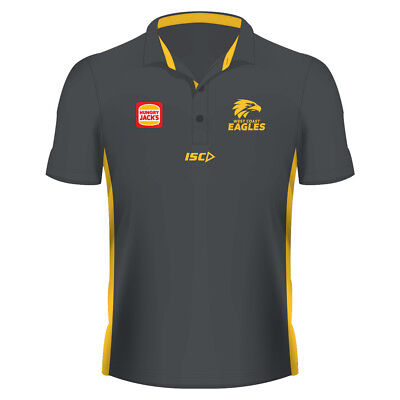 West Coast Eagles AFL 2019 ISC Carbon Grey Players Media Polo Shirt Size S-5XL!