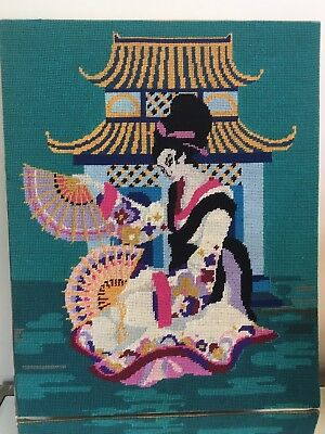 Lovely completed wool tapestry Geisha Girl Japanese Green ready to be framed
