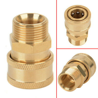 "3/8"" Quick Release Brass Adapter Connect to M22 Metric For Pressure Washer Hose"