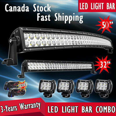52Inch LED Light Bar Curved+ 32in+ 4'' Pods Jeep Truck Offroad Combo Driving 4WD