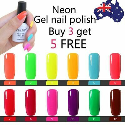 Neon Gel Nail Polish UV LED Soak Off  No Wipe Top Base Coat Lacquer BELLE FILLE