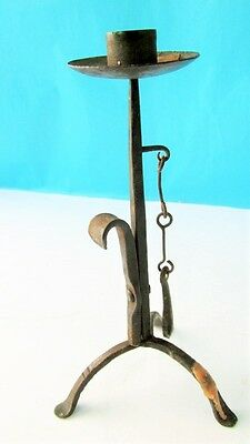 1900s ANTIQUE HAND FORGED IRON  CANDLE CANDLESTICK VERY RARE