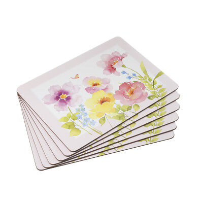 Stow Green Watercolour Set of 6 Placemats Pastel Floral Flowers Pretty Table Mat