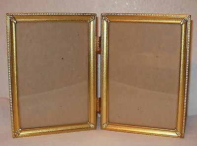 "VINTAGE Double HINGED 5x7"" Solid BRASS/Metal Photo/PICTURE FRAME 5"" x 7"""