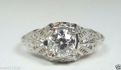 Antique Vintage Art Deco Diamond Engagement Ring Sz 6.75 18K White Gold EGL USA