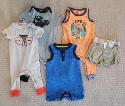CAT & JACK Lot of 5 Baby Boy Newborn Clothes One-Pieces and Shorts, Size 6M-9M