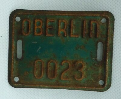 Vintage OHIO BICYCLE LICENSE PLATE FROM THE CITY OF OBERLIN , Ohio.