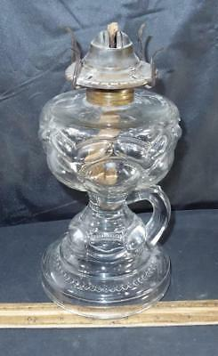 "Antique Clear Eapg Peanut Pattern Kerosene Oil Finger Lamp 6 3/4"" Tall To Collar"