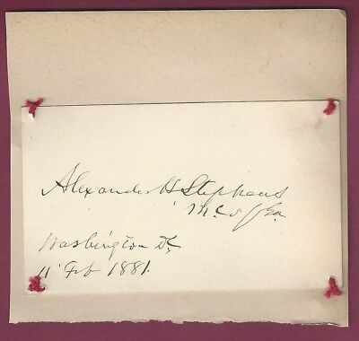 Alexander H. Stephens, VP of Confederacy, Signed Card, COA, UACC RD 036