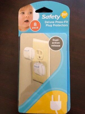 8x Brand New Safety First Deluxe 8 Pack Press Fit Plug Protectors 48307