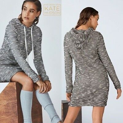 Fabletics Yukon Sweater Hoodie Dress Black   White Lined Size Small Retail   89 5ef9707606