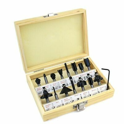 """15pc 1/4"""" Router Bit Set Shank Tungston Carbide Rotary Tool Wood Woodworking NEW"""