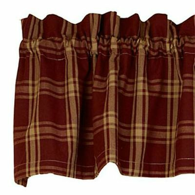 New Primitive Country Homespun Classic Tan Burgundy Wine Plaid Curtain Valance