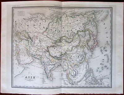 Asia Arabia India Siam China japan c.1840's engraved hand color old map