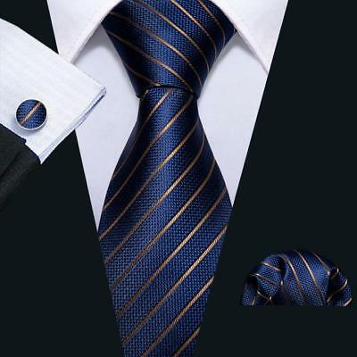 UK New Classic Silk Men Ties Blue Gold Stripes Necktie Handkerchief Set Wedding