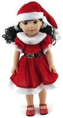 """Red Santa Dress & Hat fits 14.5"""" American Girl Wellie Wishers Doll Clothes"""