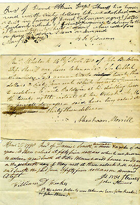 Three Vermont Sheriff Receipts For Horses & Oxen Taken From Debtors 1790-1800