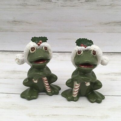 Adorable Christmas Ceramic Frog Figurines Wearing a Santa Hat with candy canes