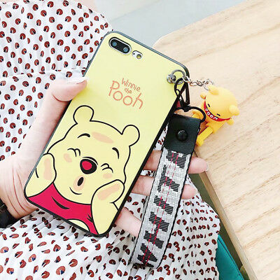 Stitch Winnie 3D Doll Pendant Phone Case Silicone Cover For iPhone X 8 7 6 Plus