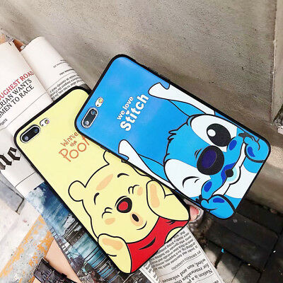 Cute Stitch Winnie Silicone Phone Case Shockproof Cover For iPhone X 8 7 6s Plus