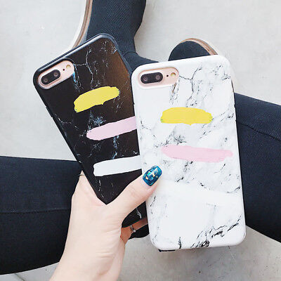 Retro Marble Pattern Stand Ring Hard TPU Case Cover For iPhone X 8 7 6s Plus