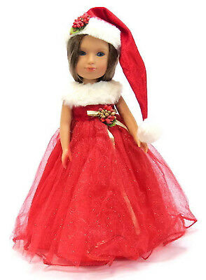 """Christmas Dress & Hat fits 14.5"""" American Girl Wellie Wishers Doll Clothes"""