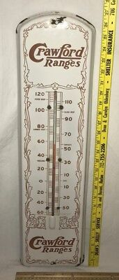Antique Crawford Ranges Porcelain Thermometer Sign Vintage 1915 Country Store