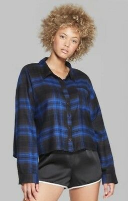 75666318 Wild Fable Women Blue Black Plaid Long Sleeve Cropped Flannel Button Down  Shirt